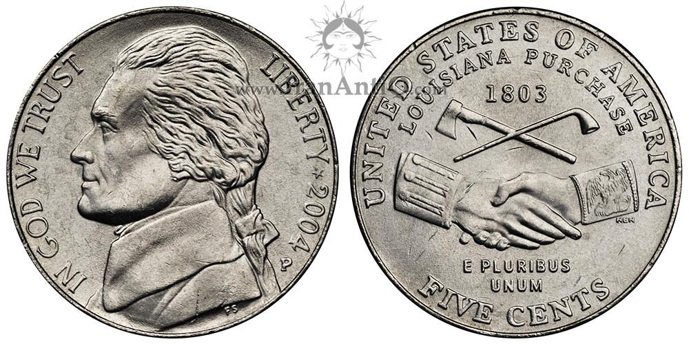 سکه پنج سنت جفرسون - یادبود توسعه غرب - تصویر پشت سکه : پیپ ، تبر  و دو دست به هم فشرده.