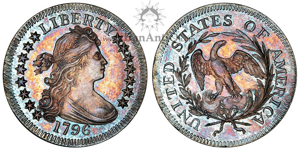 سکه کوارتر دلار نیم تنه - عقاب کوچک - Draped Bust Quarter Dollar - Small eagle