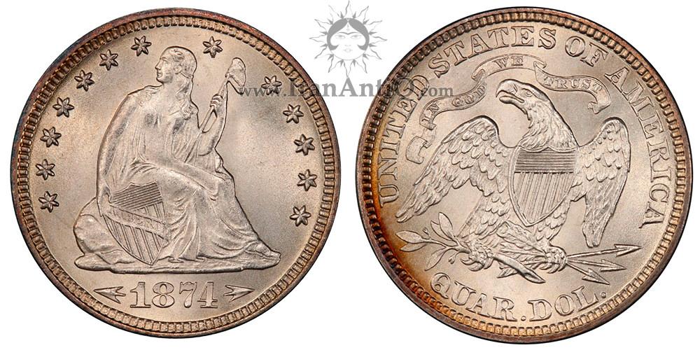 سکه کوارتر دلار با نماد آزادی نشسته - تراست و فلش کنار تاریخ - Seated Liberty Quarter Dollar - In God We Trust and Arrows at date