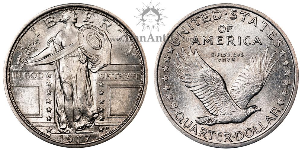 سکه کوارتر دلار نماد آزادی ایستاده - نوع یک - Standing Liberty Quarter Dollar - Type 1