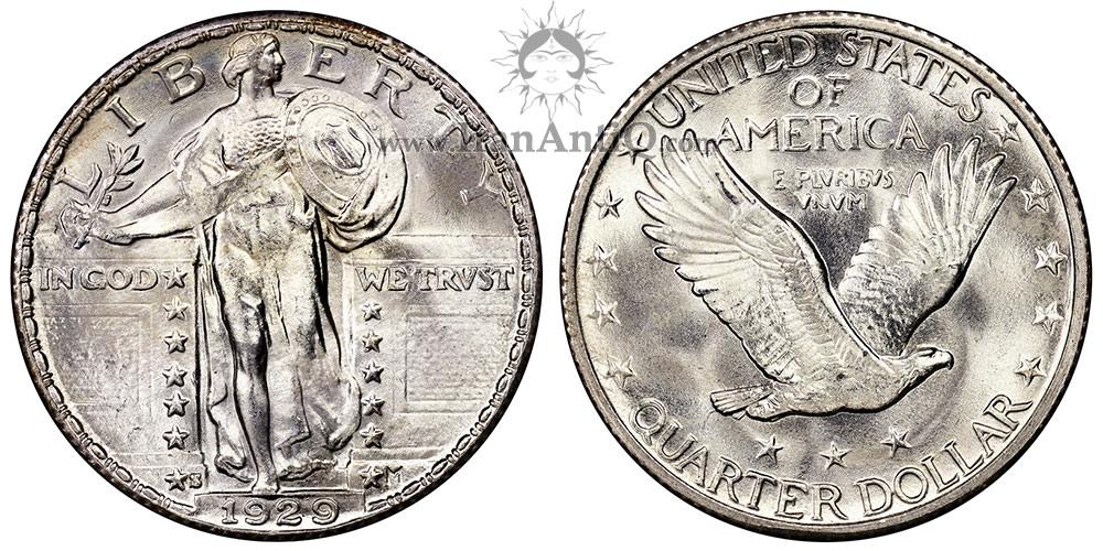 سکه کوارتر نماد آزادی ایستاده - نوع دو - Standing Liberty Quarter Dollar - Type 2