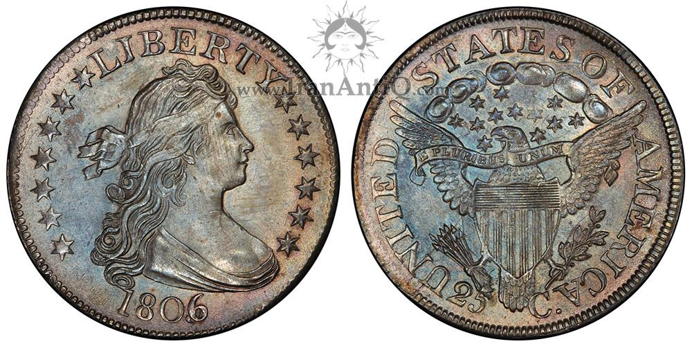 سکه کوارتر دلار نیم تنه - عقاب نشان - Draped Bust Quarter Dollar - Heraldic eagle