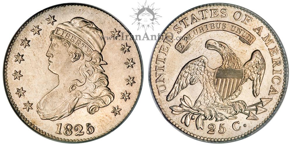 سکه کوارتر نماد آزادی با کلاه - با نوشته لاتین