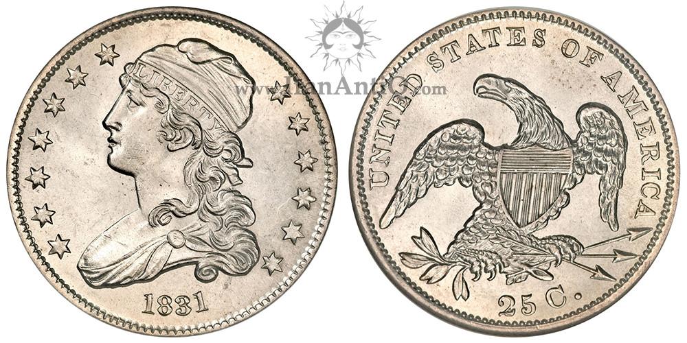 سکه کوارتر دلار نماد آزادی با کلاه - بدون نوشته لاتین - Liberty Cap Quarter Dollar - e Pluribus unum removed