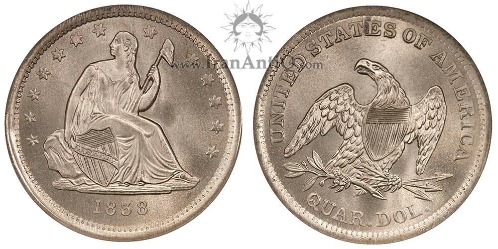 سکه کوارتر دلار با نماد آزادی نشسته - ضرب صاف - Seated Liberty Quarter Dollar - No Drapery