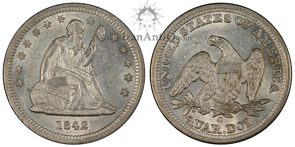سکه کوارتر با نماد آزادی نشسته - ضرب برجسته