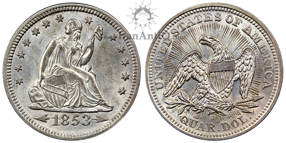 سکه کوارتر دلار با نماد آزادی نشسته - فلش کنار تاریخ و پرتو - Seated Liberty Quarter Dollar - With Arrows and Rays