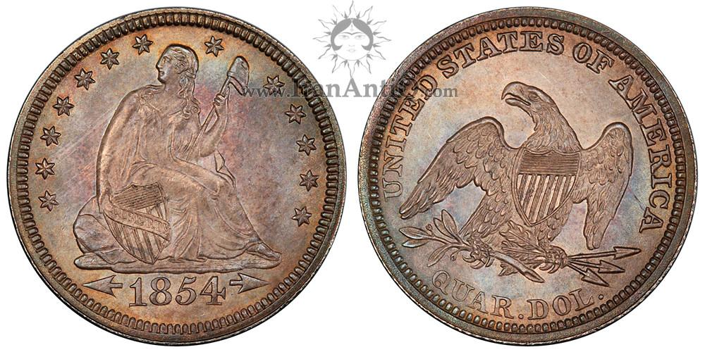 سکه کوارتر با نماد آزادی نشسته - فلش کنار تاریخ بدون پرتو