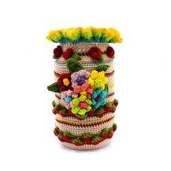 روکش قلاب بافی ظروف استوانه ایی طرح گلبافت