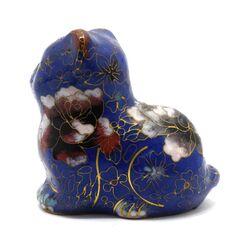 مجسمه میناکاری طرح گربه آبی (با پایه) آنتیک