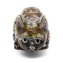 مجسمه میناکاری طرح گربه قهوه ای (با پایه) آنتیک