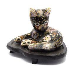مجسمه میناکاری طرح گربه سیاه (با پایه) آنتیک