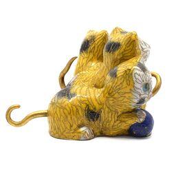 مجسمه میناکاری طرح گربه زرد (با پایه) آنتیک