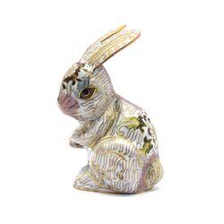 مجسمه میناکاری طرح خرگوش ایستاده سفید (با پایه) آنتیک